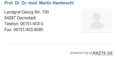 Prof dr dr med martin hambrecht