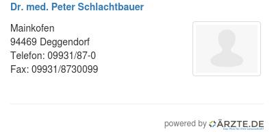 Dr med peter schlachtbauer