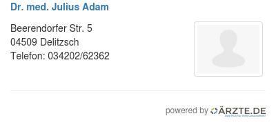 Dr med julius adam