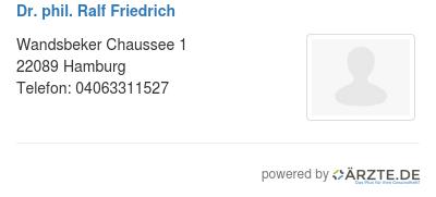 Dr phil ralf friedrich