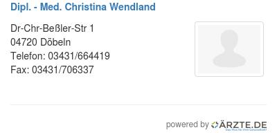 Dipl med christina wendland