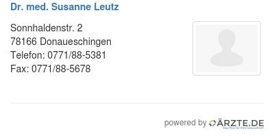 Dr med susanne leutz