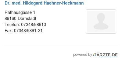 Dr med hildegard haehner heckmann