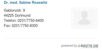 Dr med sabine rosewitz