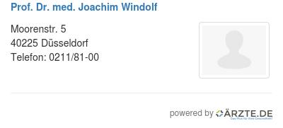 Prof dr med joachim windolf