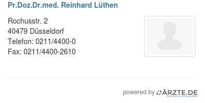 Pr doz dr med reinhard luethen