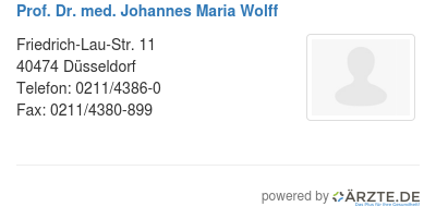 Prof dr med johannes maria wolff