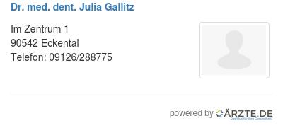 Dr med dent julia gallitz