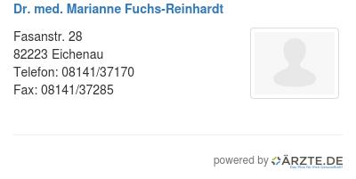Dr med marianne fuchs reinhardt