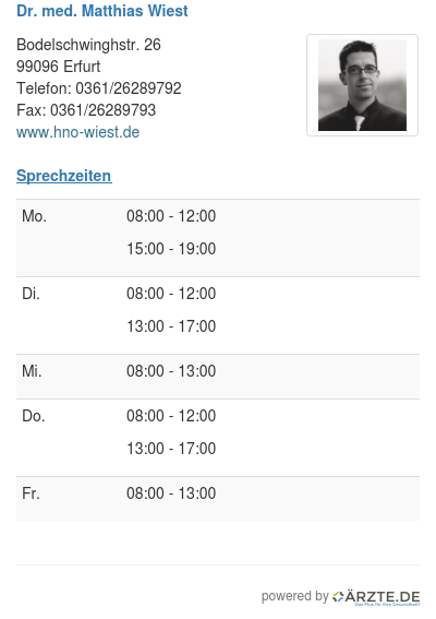 Dr med matthias wiest