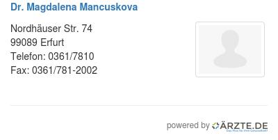 Dr magdalena mancuskova
