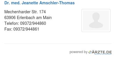 Dr med jeanette amschler thomas