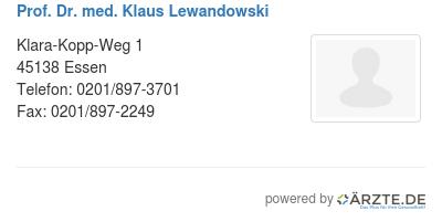 Prof dr med klaus lewandowski
