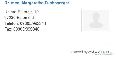 Dr med margarethe fuchsberger