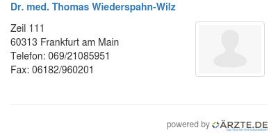 Dr med thomas wiederspahn wilz