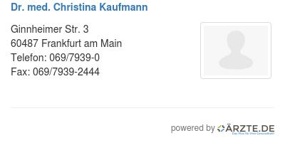 Dr med christina kaufmann