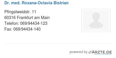 Dr med roxana octavia bistrian