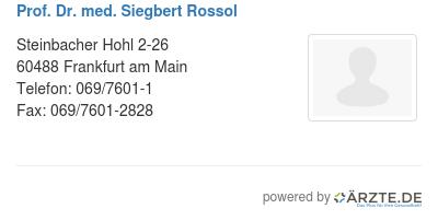 Prof dr med siegbert rossol