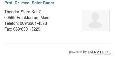 Prof dr med peter bader