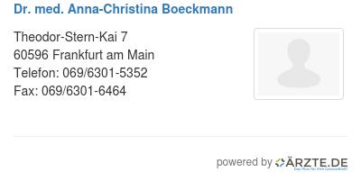 Dr med anna christina boeckmann