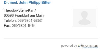 Dr med john philipp bitter