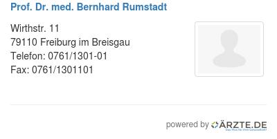 Prof dr med bernhard rumstadt