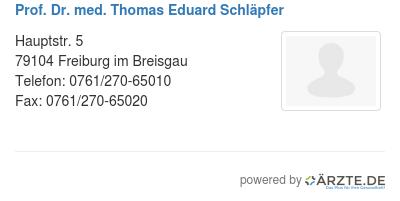 Prof dr med thomas eduard schlaepfer