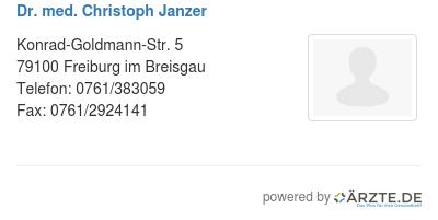 Dr med christoph janzer