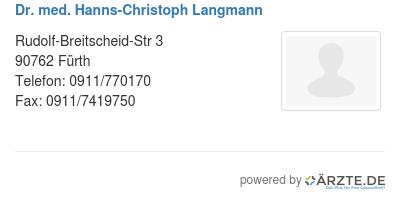 Dr med hanns christoph langmann