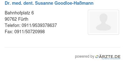Dr med dent susanne goodloe hassmann