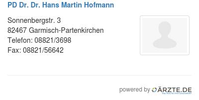 Pd dr dr hans martin hofmann