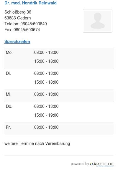 Dr med hendrik reinwald