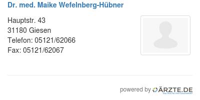 Dr med maike wefelnberg huebner 580215