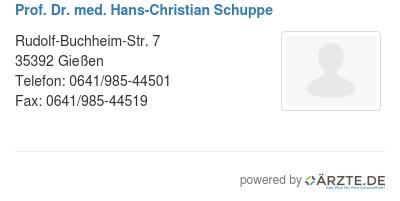 Prof dr med hans christian schuppe