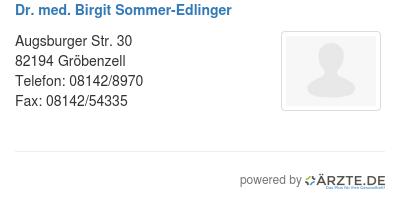 Dr med birgit sommer edlinger