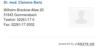 Dr med clemens bartz