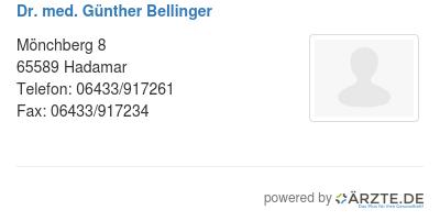 Dr med guenther bellinger