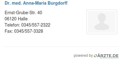 Dr med anna maria burgdorff