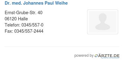 Dr med johannes paul weihe