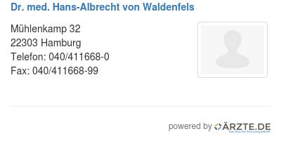 Dr med hans albrecht von waldenfels