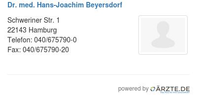 Dr med hans joachim beyersdorf