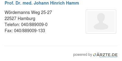 Prof dr med johann hinrich hamm