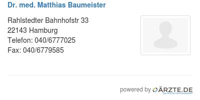 Dr med matthias baumeister
