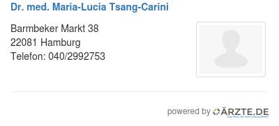 Dr med maria lucia tsang carini