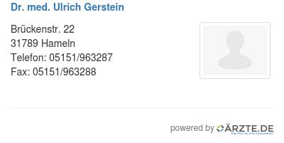 Dr med ulrich gerstein