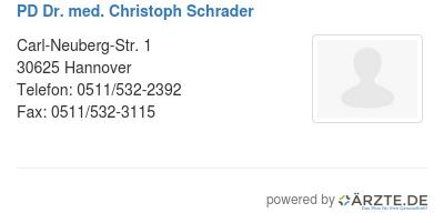 Pd dr med christoph schrader