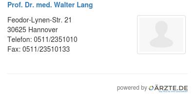 Prof dr med walter lang
