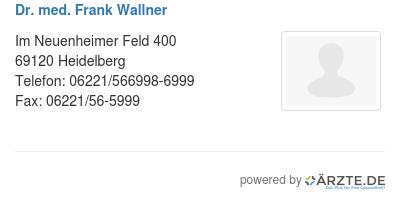Dr med frank wallner