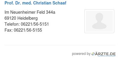 Prof dr med christian schaaf