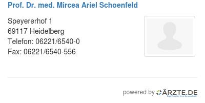Prof dr med mircea ariel schoenfeld
